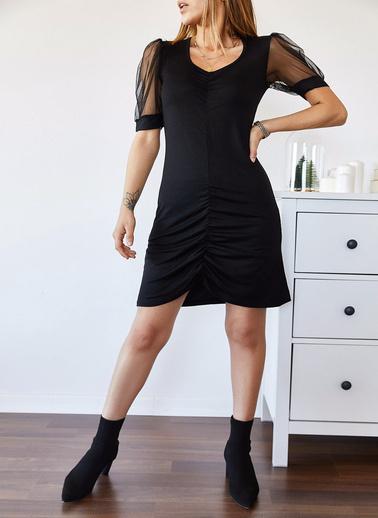 XHAN Kolu Tüllü Büzgülü Elbise 9Kxk6-43336-02 Siyah